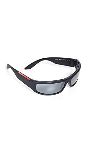 Prada Linea Rossa Herren Active PS 02US Sonnenbrille. Schwarz ( Black / Grey Mirror Black), 65