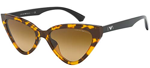 Emporio Armani Unisex 0EA4136 Sonnenbrille, Yellow Havana/Light Brown Shaded, 55/18/140