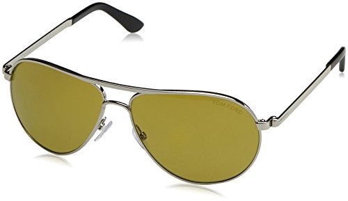 Tom Ford Damen FT0144 18N 58 Sonnenbrille, Grau (Rodio Lucido/Verde)