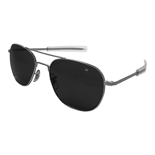 American Optical Original Pilot Sun Glass 57mm Größe (Silber matt)