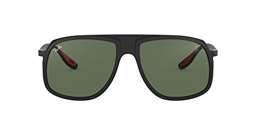 Ray-Ban Junior Herren 0RB4308M F60271 58 Sonnenbrille, Schwarz (Matte Black/Green)
