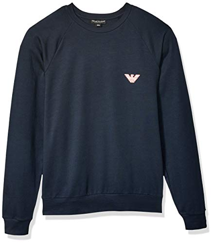Emporio Armani Herren Big Eagle Crew Neck Sweater Sweatshirt, Marineblau, Large