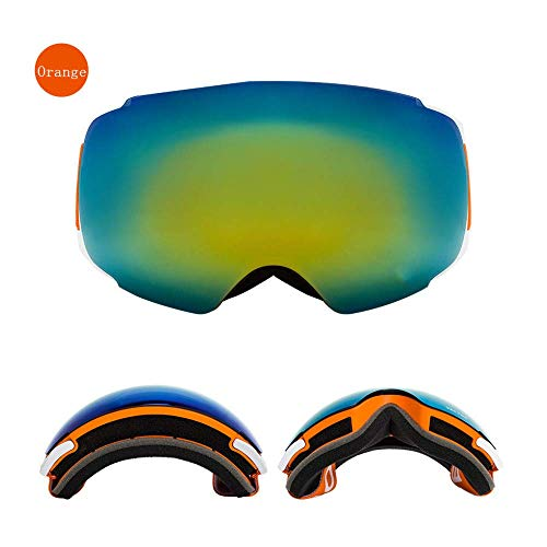 Mnjin Skibrille Orange Winddichte Skibrille Herren UV400 Anti-Fog Skateboard Snowboard Damen Sonnenbrille Outdoor Wintersport
