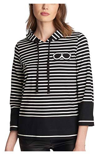 Karl Lagerfeld Paris Damen Stripe Hoodie W Sunglass Patch - Schwarz - Groß