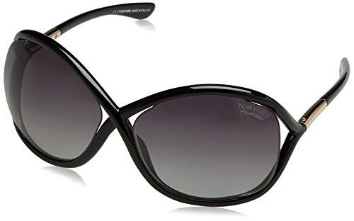 Tom Ford Damen FT0009 01D 64 Sonnenbrille, Schwarz (Nero Lucido/Fumo Polar)