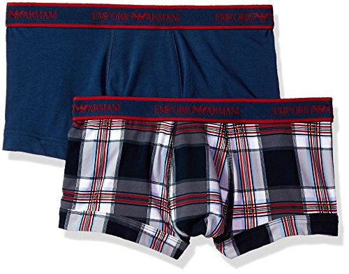 Emporio Armani Herren Pattern Mix 2-Pack Trunk Badehose, Check Stone Blue White/Tango Red/Marine, Small